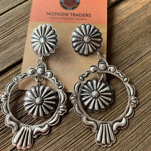 Jewelry - Navajo Sterling Hand Stamped Dangle Post Earrings